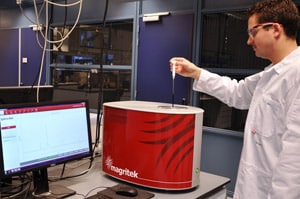 Michiel Petrus of the Dingemans Group at TU Delft using the Magritek Spinsolve Benchtop NMR system to study polymers